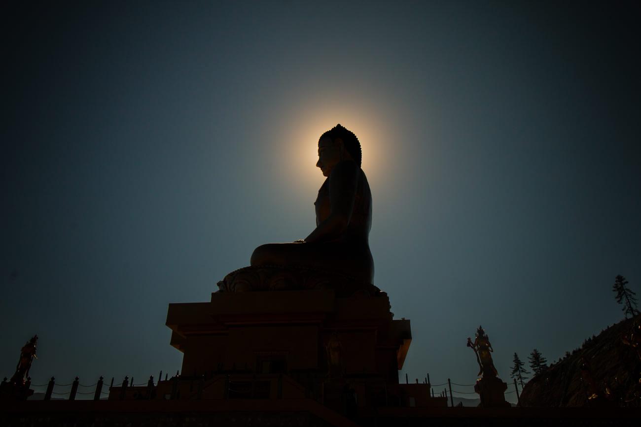 Silhouette of Buddha statue Bhutan